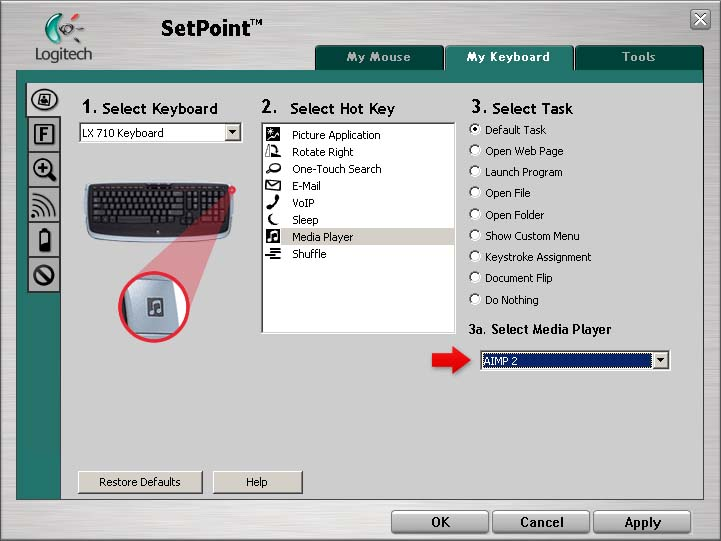 Logitech SetPoint Media Player Key, AIMP 2 Player Support